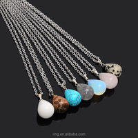 Natural Women Waterdrop Pendant Necklace Agate Amethyst Stone Chain Quartz Turquoise