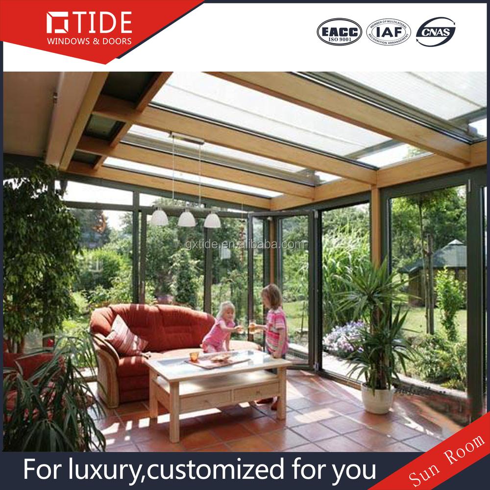 Groene huis tuin serre, warmte-isolatie aluminium hout glas kamer ...