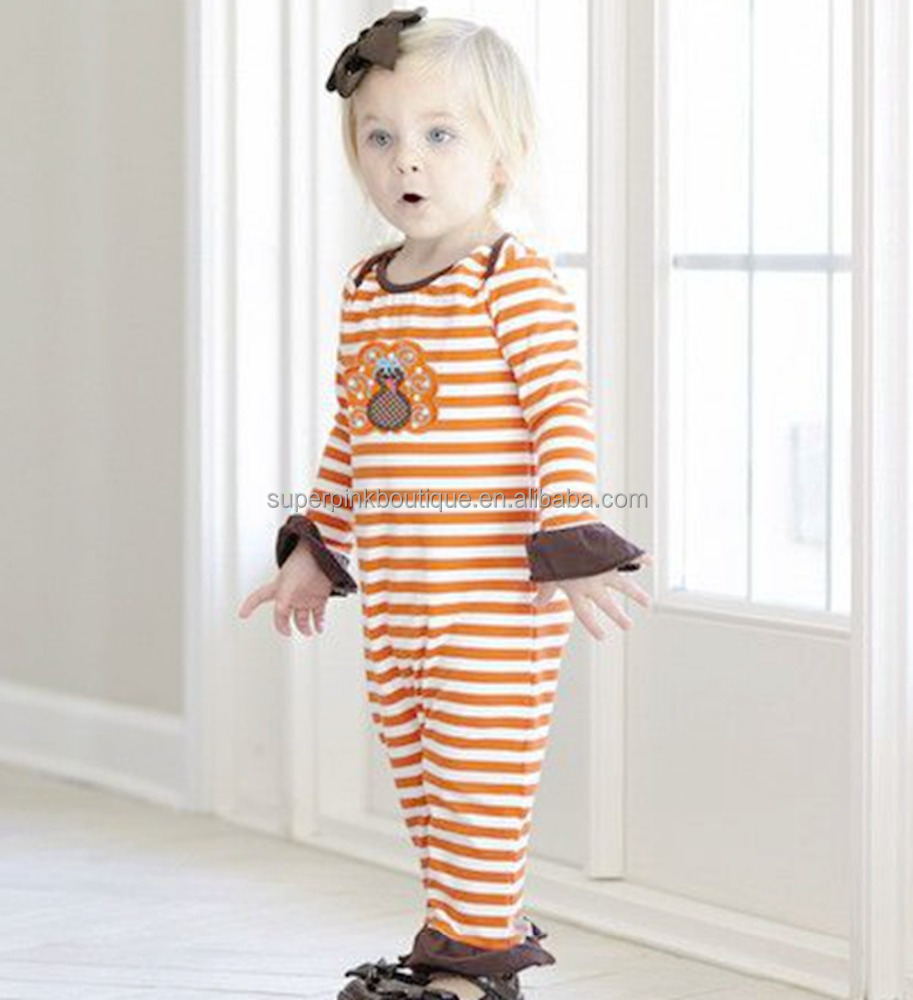 orange and brown baby clothes bulk infant rompers for thanksgiving day