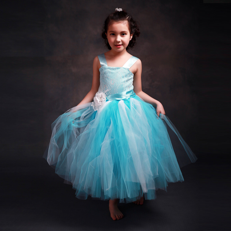 W4236 2017 New Flower Girls Party Dress Embroidered Formal Bridesmaid Wedding Dress Girls Christmas Princess Ball Gown