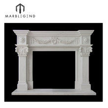 Customized design natural stone mantel decorative white marble fireplace