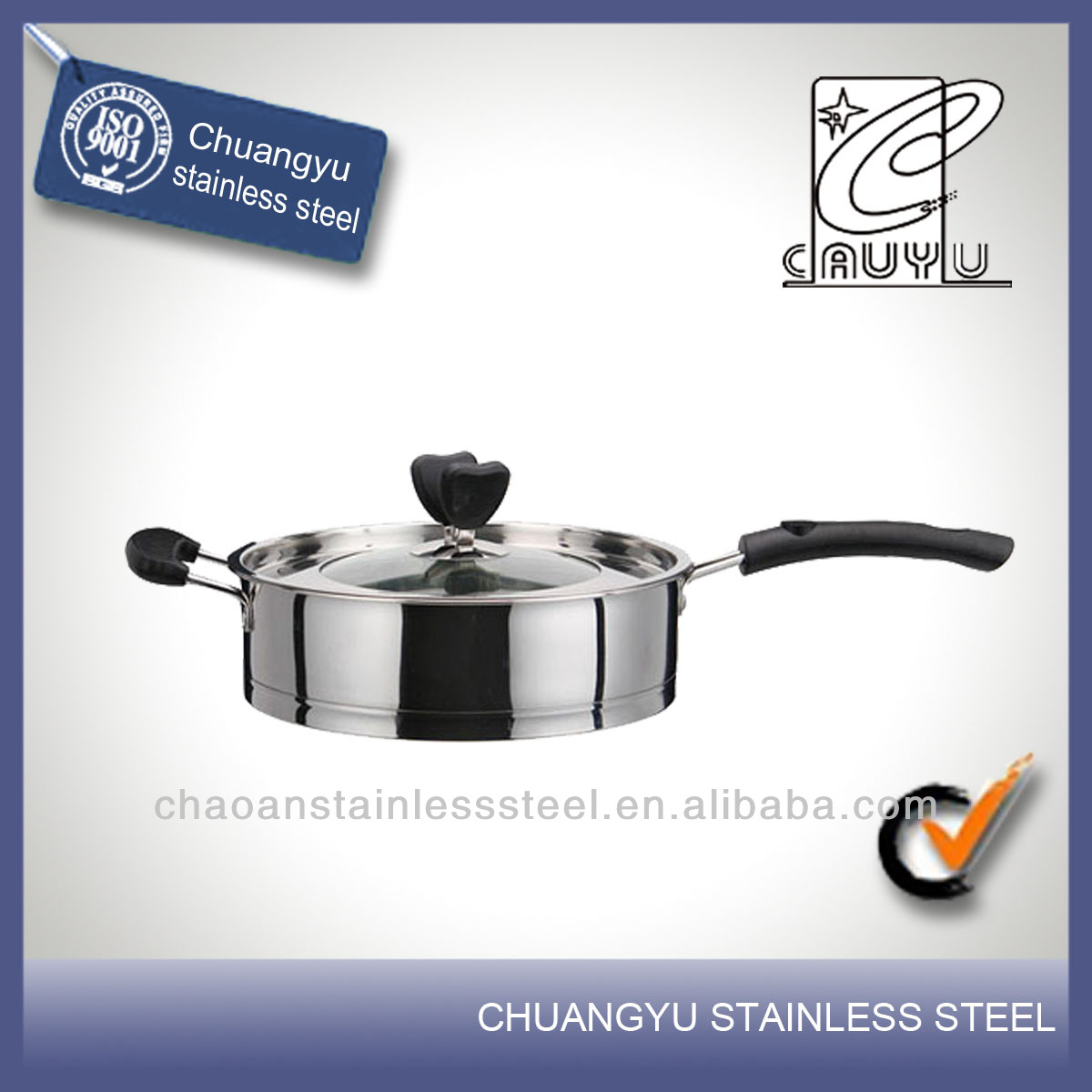 New product stainless steel non stick ceramic fry pan