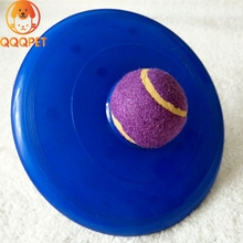 Plastic combine tennis ball dog rubber toys for training durable flying disc