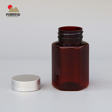 Medicine Plastic PET 100ml bottle brown and white