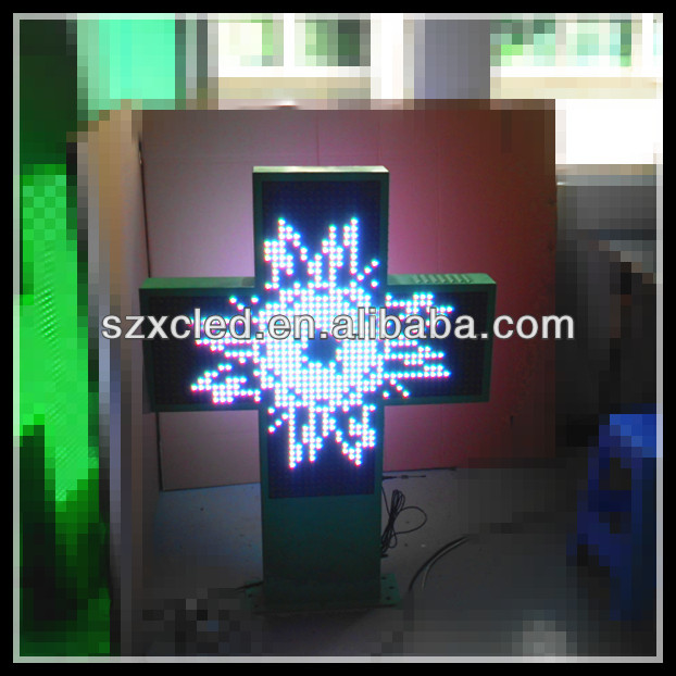 RGB full color RF wireless communication P16-80x80cm two sides controller led pharmacy cross