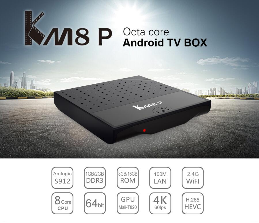 Most Popular KM8P Smart Octa Core 64 bit ADD-ONS 17.0 Fully Loaded 4K Movie Android 7.0 S912 TV BOX