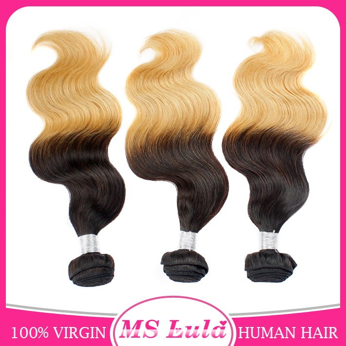 Raw virgin unprocessed human hair two tone colored brazilian deep curly ombre hair weave