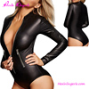 Latest Design Long Sleeves PVC Wetlook Leather Catsuit bodysuit