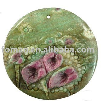 40mm round carving ruby fucshite jewelry pendant semi precious carving pendant