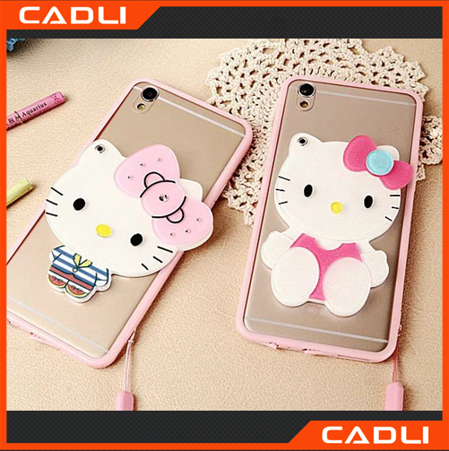 Fancy cartoon cell phone cases tpu mirror phone cases for OPPO R9 with stand function