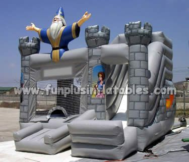 Customized large inflatable slip n slide the city branded kids inflatable slide/combo/bouncer F3053