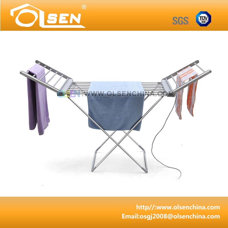 Electric heated clothes airer with wings for drying clothes