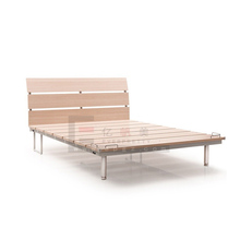King Size Teak Wood Bed Frame, Double Bed Designs in Wood weith Metal Furniture Leg