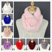 Wholesale fur muffler shawl knitted rabbit scarf for women real rabbit fur children scarf