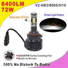 72W 8000LM 6500K Cool White Flip LED Headlight Bulb 9005 led light h7 auto led for car toyota corolla yaris
