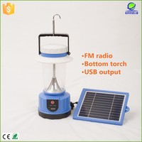 Rechargeable emergency lighting solarcamping lantern with FM radio