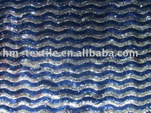embroidery fabric 3mm silver and blue sequin spangle voile