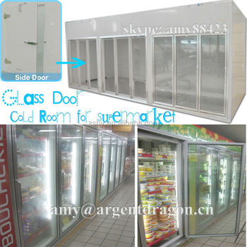 Glass door insulation display cold room for supermarket