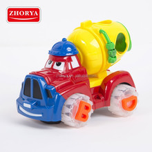 B/O Toy plastic Cartoon Truck bump and go car toys with musical for kids Equipped 4 blocks