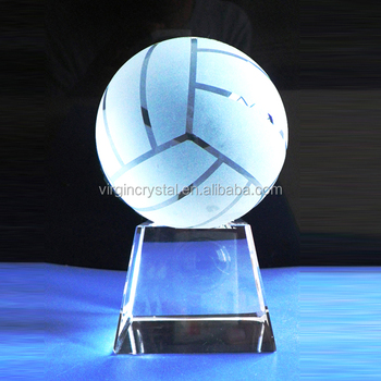 Crystal glass Volleyball Trophy Sports Vollyball Awards