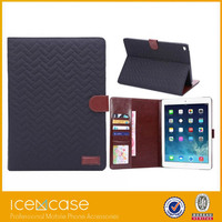 2015 Top level hot sale tartan design leather case for ipad air 2