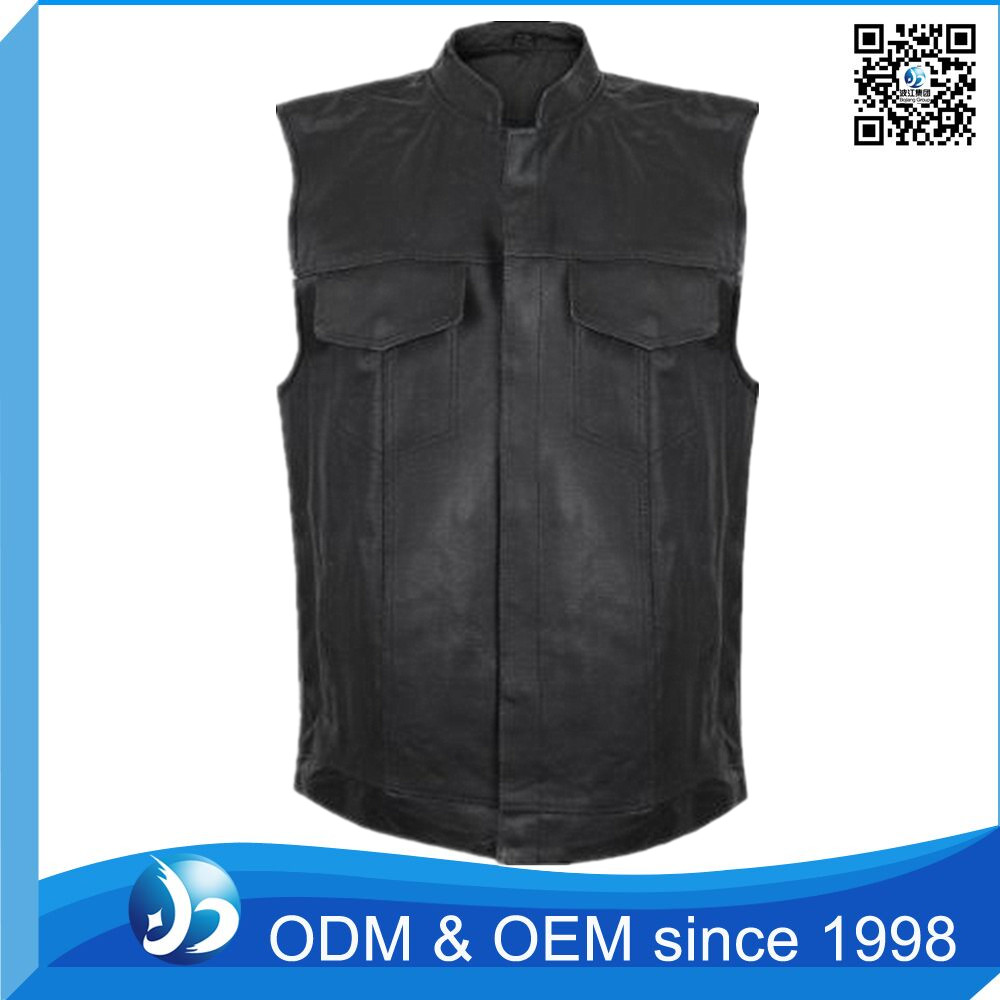 Customed Leather Vest Motorcycle Mens Vest Wholesale