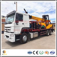 6X4 sinotruk Truck mounted hydraulic rotary water well drilling rig machine with 400m drilling capacity
