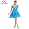 Grace Karin Halter Design Sequins Short Mini Cocktail Dresses Blue Chiffon Cocktail Party Dress CL3472