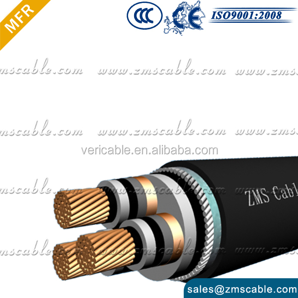 6/10kv stranded copper/aluminum pvc insullated 1core 3core steel wire armored/stee l tape armored Underground power cable