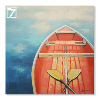 Modern Decorative Landscape Painting Rowing Boat Framed Artwork on Canvas
