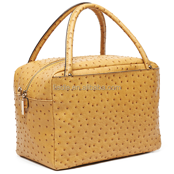 S560A-A2704 camel ostrich genuine leather bags women tote handbag