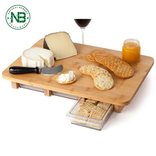Bamboo cheese Cutting Board with plsatic box
