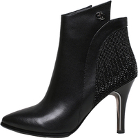 Woman Sexy Black Genuine Leather High