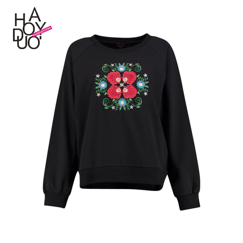 HAODUOYI Latest Design Women Black Sweater Embroidery Leisure Wear With Factory Wholesale