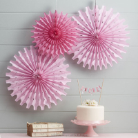 China wholesale new design pink tissue paper fan