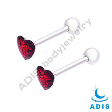 surgical steel Sparkle Tongue Barbell piercings 14gauge