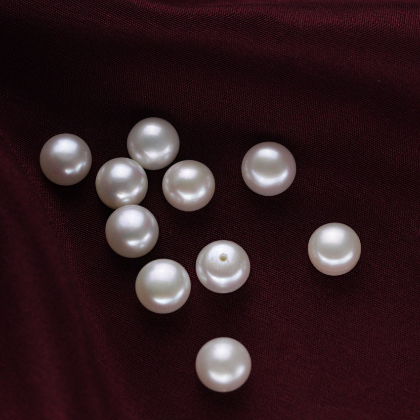 9-9.5mm fresh water AAA grade button shape pearls 1/2 one hole half drilled real natural cultured loose freshwater pearls