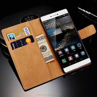 Luxury Vintage Stand Flip Wallet Cover/Genuine Leather Case For Huawei Ascend P8 With Card Pockets