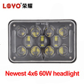 Factory Price!!! 4x6 60w Car Led Rectangular Headlight for Excavator, truck, heavy machinery equipment with DRL