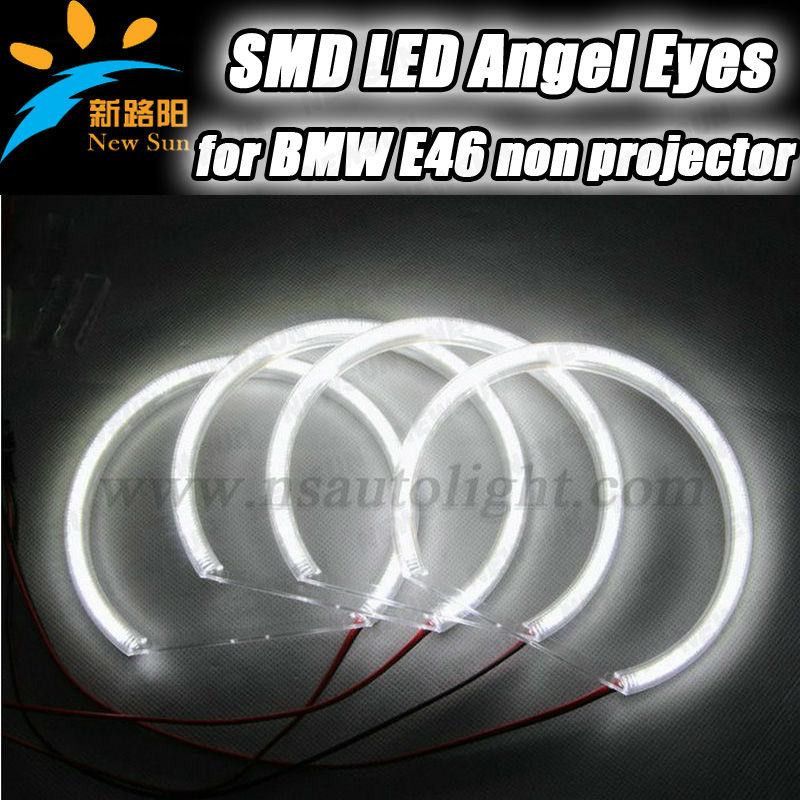 SMD LED angel eyes non-projector, for E46 LED angel eyes drl 2x131mm + 2x145mm super bright E46 Non-projector led angel eyes