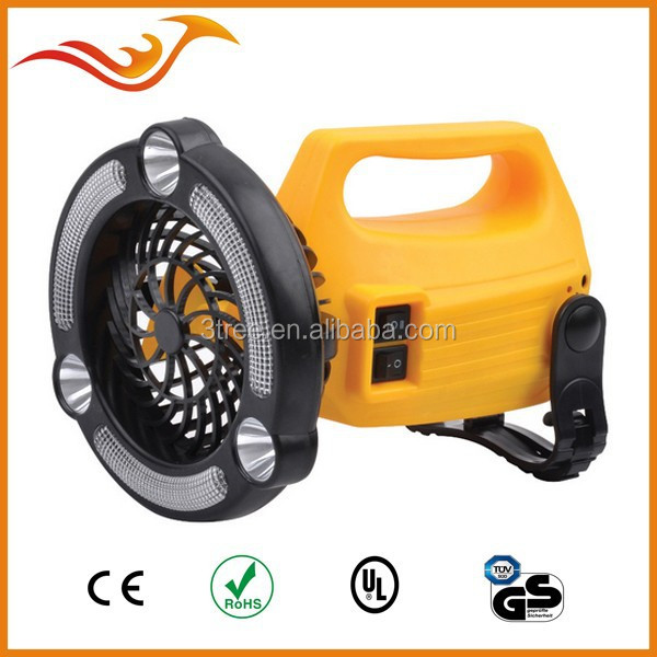 3+24 LED rechargeable torch with fan can be used as camping light