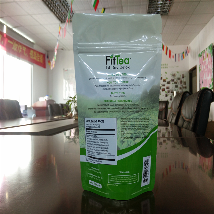 Shenzhen manufacturer standup green tea bags plastic bags with zipper