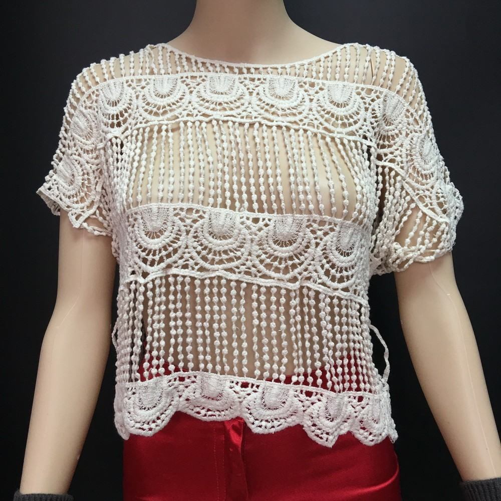 Women's crochet tops short-sleeved lace shirt good quality summer lace tops