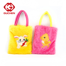 Promotional wholesale easter bunny plush tote bag