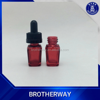 5ml red square glass dropper bottle with childproof cap