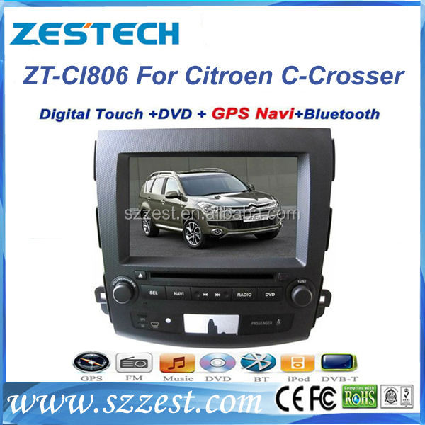 "ZESTECH Dvd player bluetooth GPS radio 8"" car dvd player for Citroen C-Crosser car dvd player with gps"