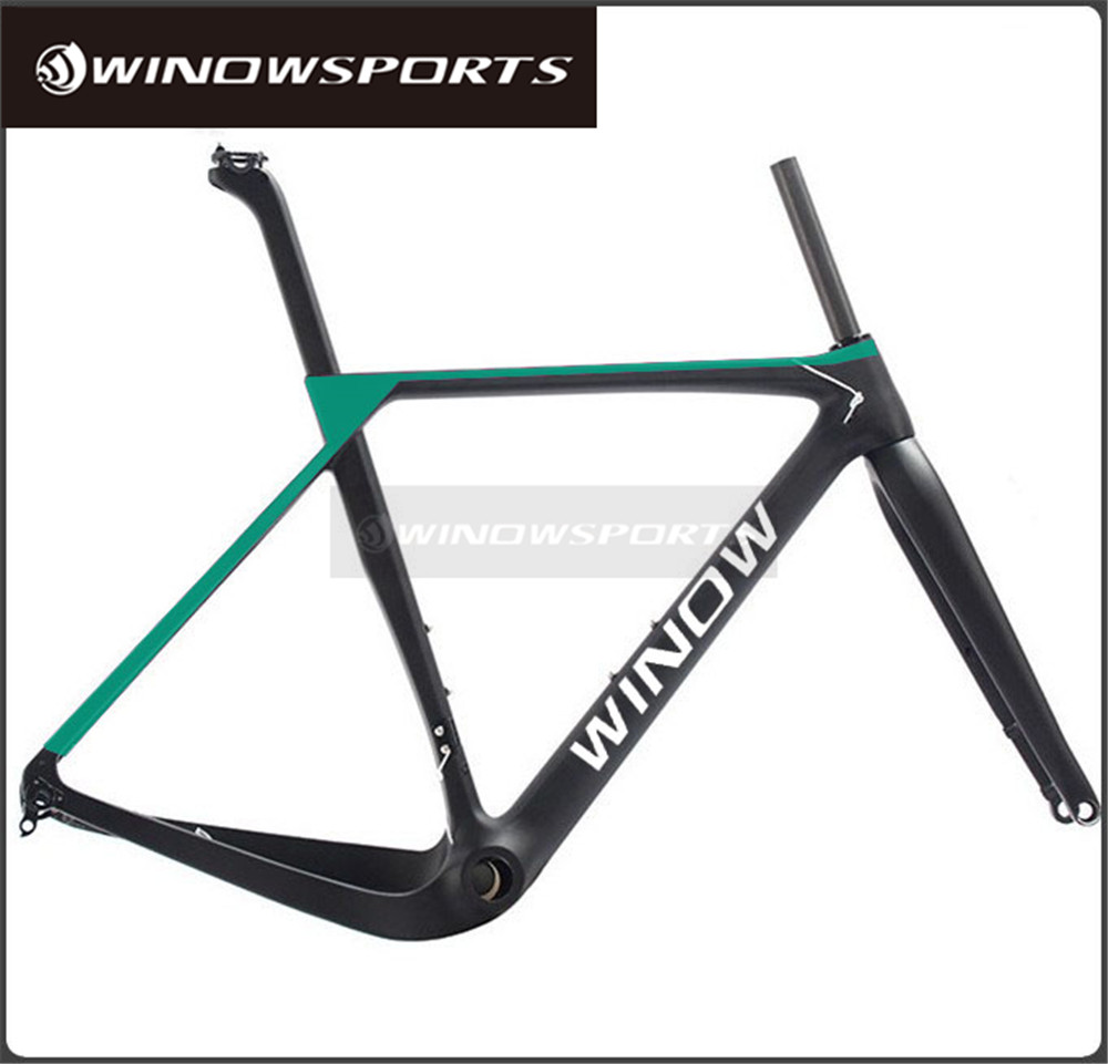 2017 Winow full Carbon gravel Bike Frame set flat Disc brake design 142x12 thru-<strong>axle</strong> and 135x9 QR switchable carbon fiber