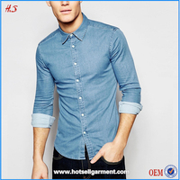 latest shirt designs for men wholesale denim long sleeves shirts mens shirts
