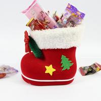 Christmas Supplies Plastic Flocking Boots Shape Design Candy Bag Kids Xmas Gifts Bag Tree Ornament Decoration