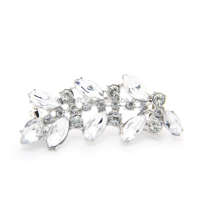 Punk Style Crystal Ear Clip Earrings Rhinestone Leaves Ear Cuff Stud